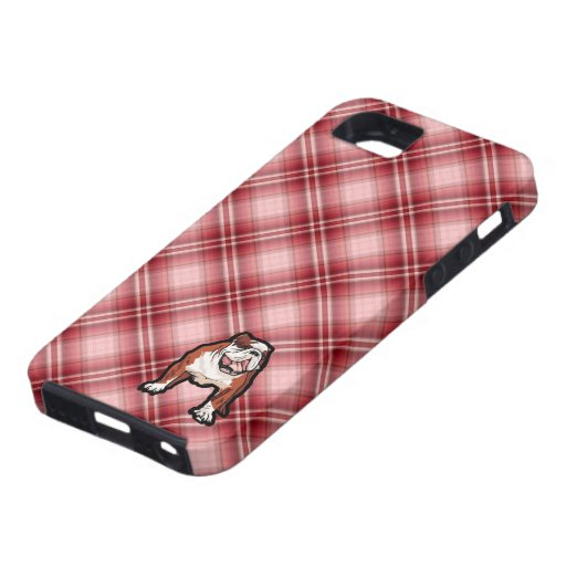 Red Plaid Bulldog iPhone 5 Cover