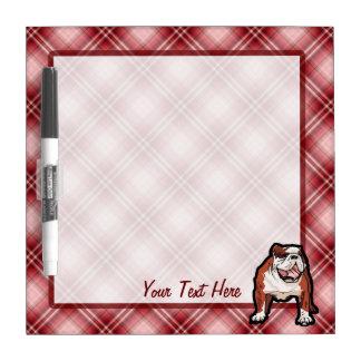 Red Plaid Bulldog Dry Erase Board
