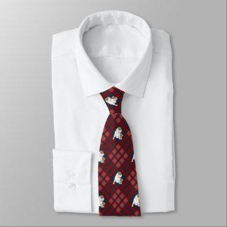 Red Plaid Bulldog Tie