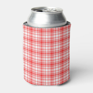 Red Plaid Can Cooler