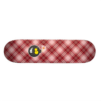 Red Plaid Cartoon Bomb Skate Decks