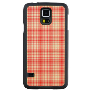 Red Plaid Carved Maple Galaxy S5 Case