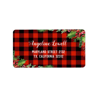 Red Plaid Christmas Address Label
