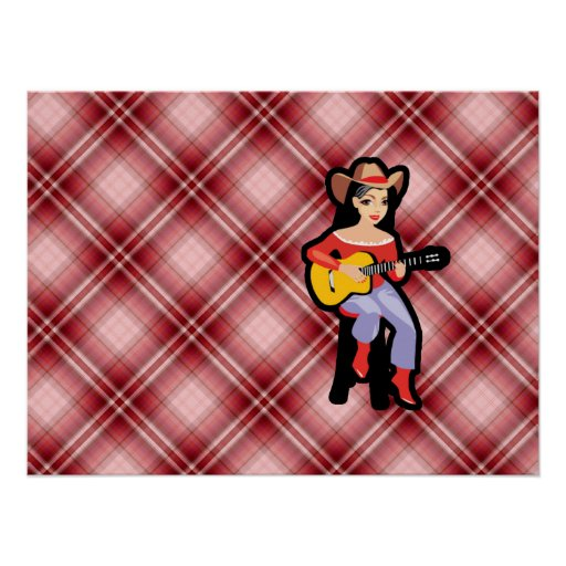 Red Plaid Cowgirl with Guitar Poster