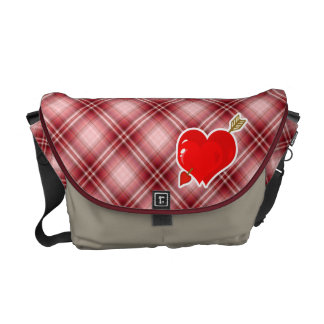 Red Plaid Cupid Heart & Arrow Courier Bags