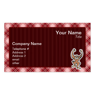 Red Plaid Cute Monkey Double-Sided Standard Business Cards (Pack Of 100)