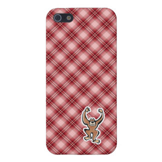 Red Plaid Cute Monkey iPhone 5 Cases