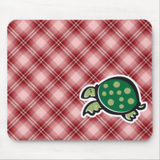 Red Plaid Cute Turtle Mouse Pad