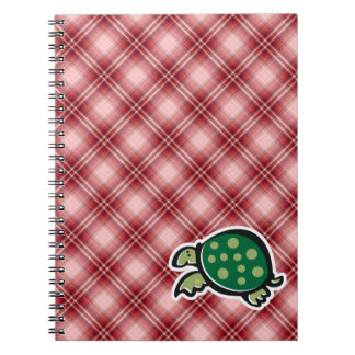 Red Plaid Cute Turtle Spiral Notebooks