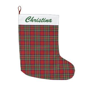 Red Plaid Design Large Christmas Stocking