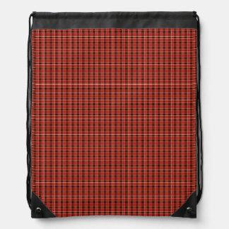 Red Plaid Drawstring Backpack