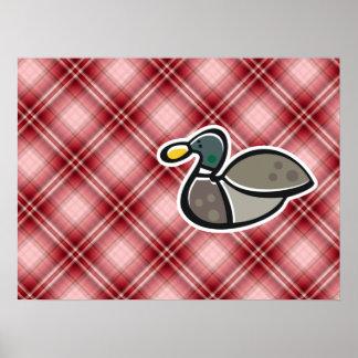 Red Plaid Duck Print