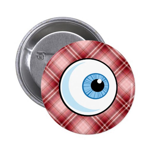 Red Plaid Eyeball Buttons