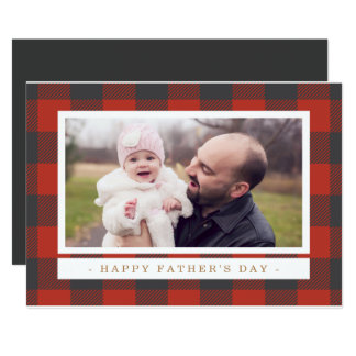 Red Plaid Father's Day 13 Cm X 18 Cm Invitation Card