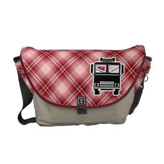 Red Plaid Fire Truck Messenger Bag