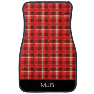 Red Plaid Flannel Look with Monogram Car Mat