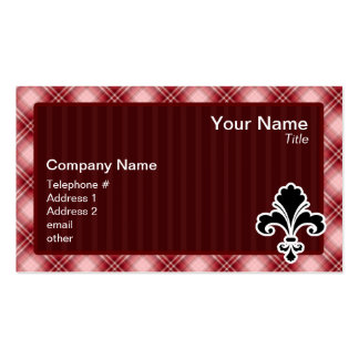 Red Plaid Fleur de lis Double-Sided Standard Business Cards (Pack Of 100)