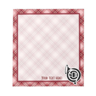 Red Plaid French Horn Notepad