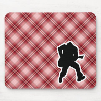 Red Plaid Guitarist Mouse Pad