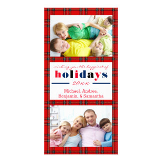 Red Plaid Happiest Holidays - Christmas Photo Card
