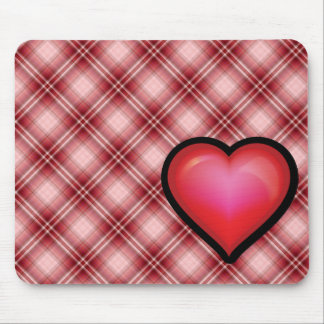 Red Plaid Heart Mouse Mat