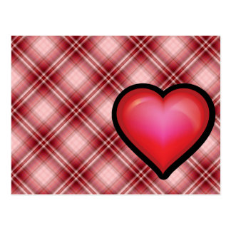 Red Plaid Heart Postcard
