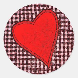 Red Plaid Heart Round Sticker