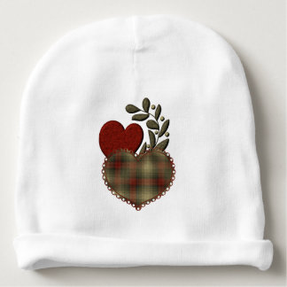 Red & Plaid Hearts Baby Beanie