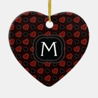 Red Plaid Hearts Pattern With Initial Christmas Ornament