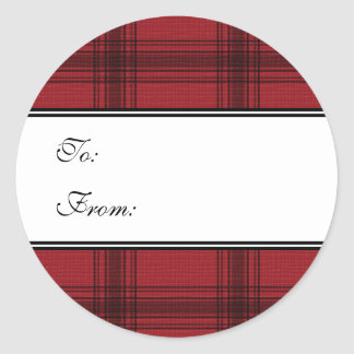 Red Plaid Holiday Gift Tag Stickers