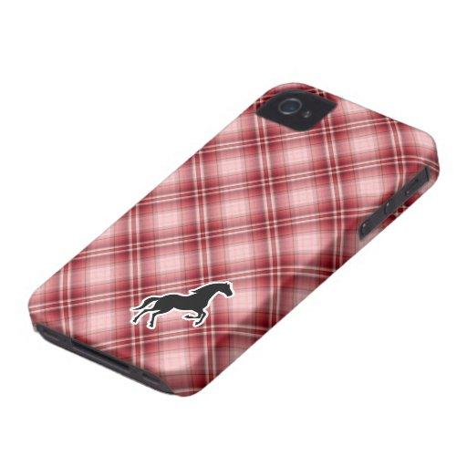 Red Plaid Horse iPhone 4 Case-Mate Case