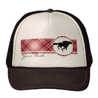 Red Plaid Horse Racing Trucker Hat