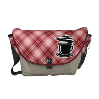 Red Plaid Hot Coffee Courier Bag
