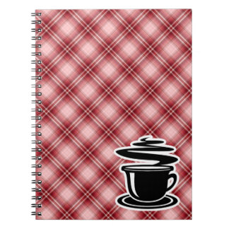 Red Plaid Hot Coffee Notebook