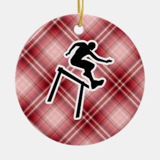Red Plaid Hurdler Christmas Ornament