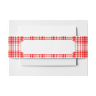 Red Plaid Invitation Belly Band