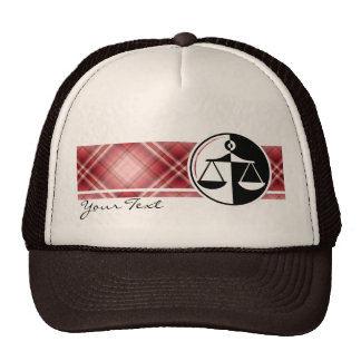 Red Plaid Justice Scales Mesh Hats