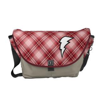 Red Plaid Lightning Bolt Messenger Bags