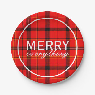 Red Plaid Merry Everything Black Tartan Christmas Paper Plate  sc 1 st  Zazzle & Christmas Tartan Plates | Zazzle.co.uk