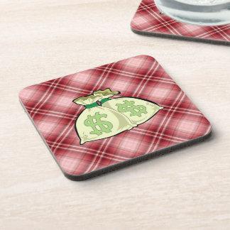 Red Plaid Money Bags Beverage Coaster
