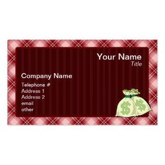 Red Plaid Money Bags Business Card