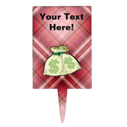Red Plaid Money Bags Cake Topper