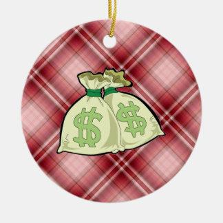 Red Plaid Money Bags Christmas Tree Ornament