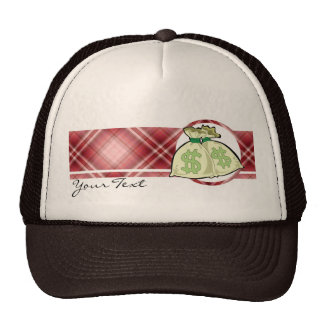 Red Plaid Money Bags Trucker Hats