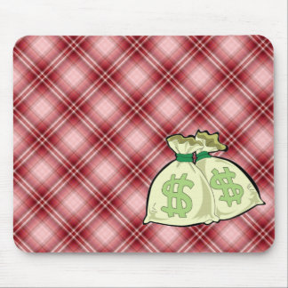 Red Plaid Money Bags Mouse Pad