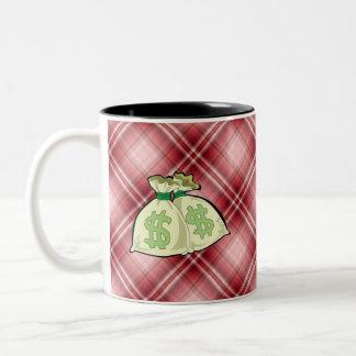 Red Plaid Money Bags Mug