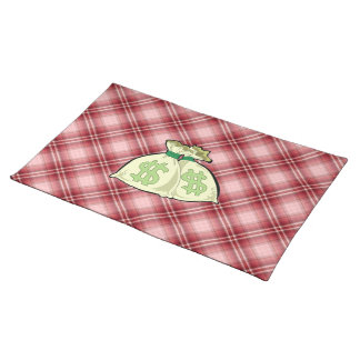 Red Plaid Money Bags Place Mats
