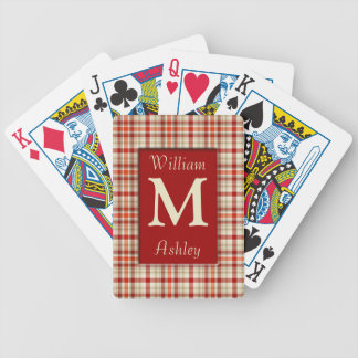 Red Plaid Monogrammed Playing Cards