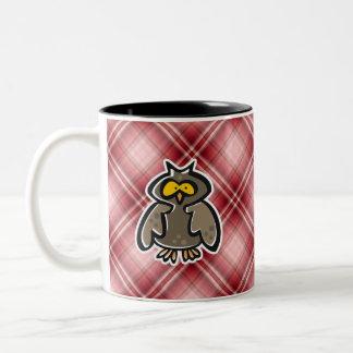 Red Plaid Owl Mugs