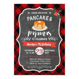 Red Plaid Pancake and Pyjamas Birthday Invitation